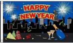 Happy New Year City Large Flag - 5' x 3'.